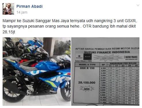 Harga Gsx R150 Di Bandung Jawabarat Rp 28jutaan Selama Promosi
